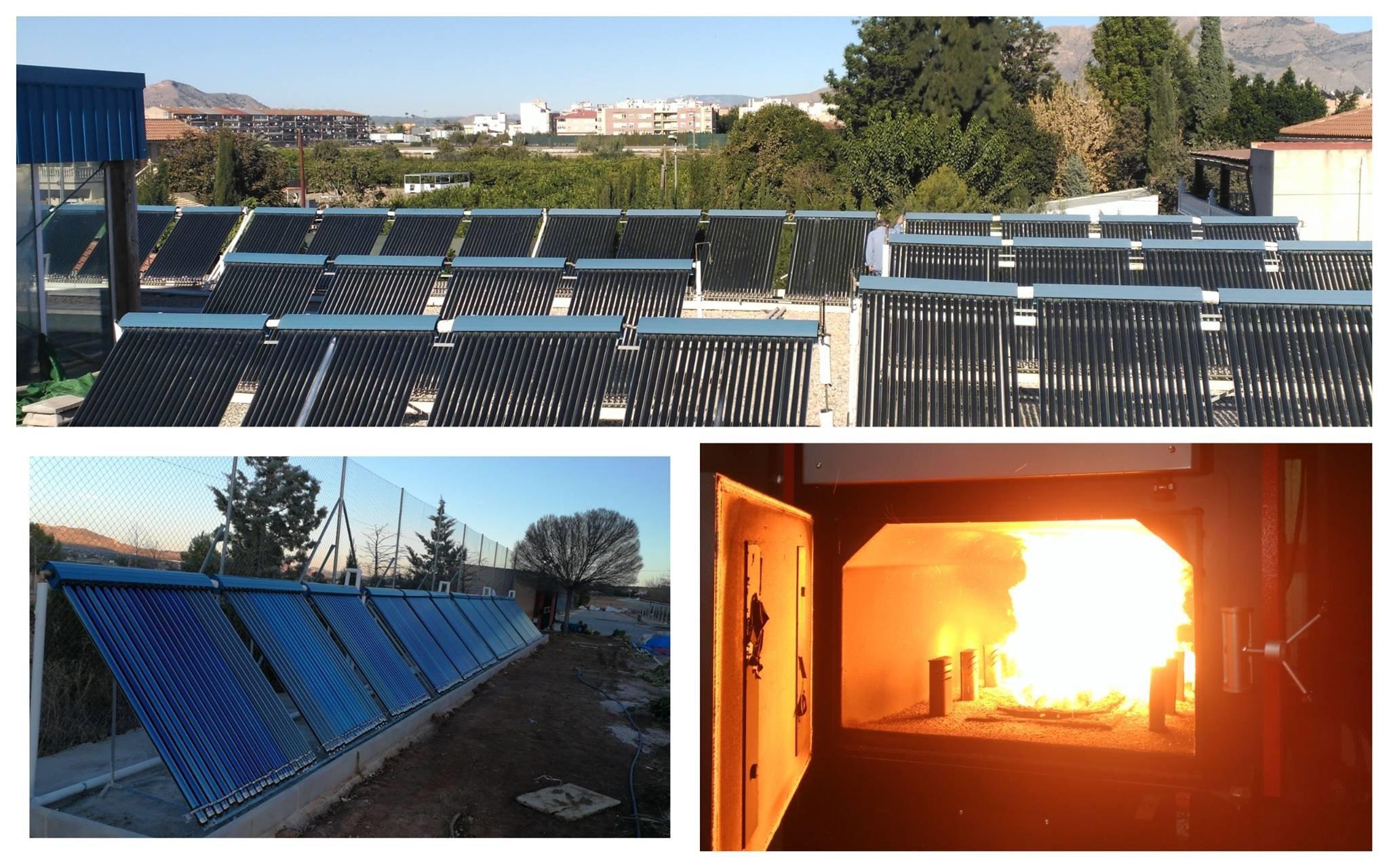 Captadores solares térmicos y caldera de biomasa