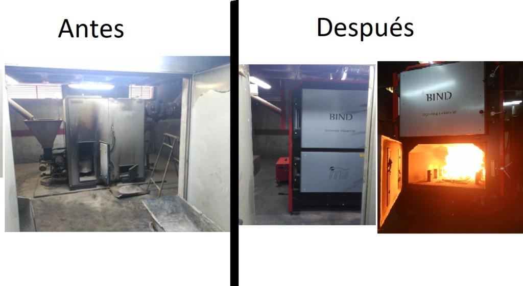 Caldera de biomasa antes y después
