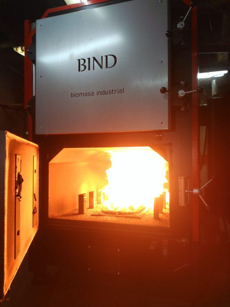 Combustión caldera de biomasa ITB 400bd torre pacheco.