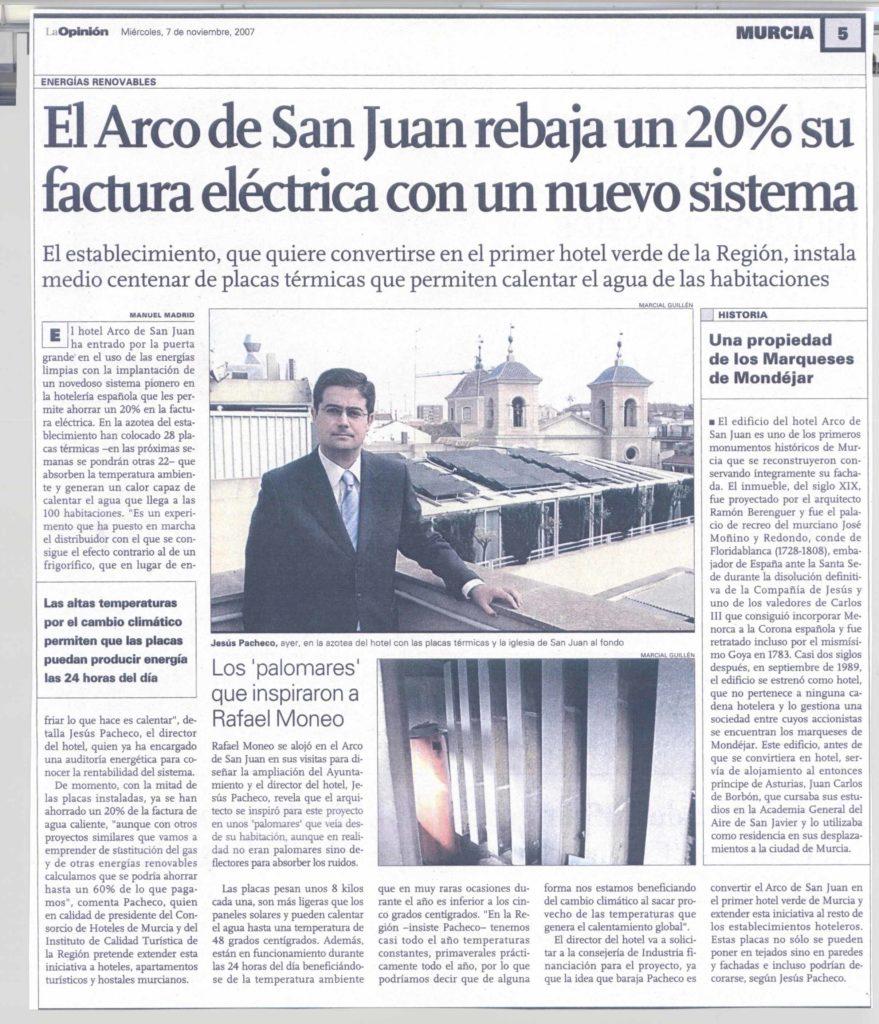 Noticia de instalación termodinámica en Hotel Arco de San Juan, Murcia.
