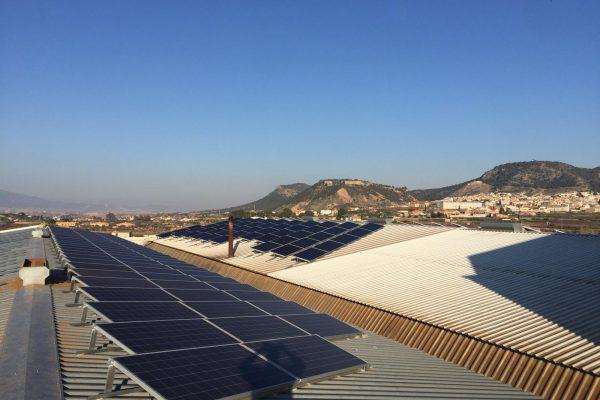 Proceso de montaje de módulos energía solar fotovoltaica en cubierta de nave.