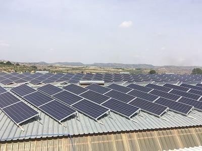 Vista general de módulos solares fotovoltaicos sobre cubierta de nave industrial.