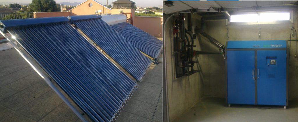Placas solares tubo de vacío heat pipe + caldera de biomasa para calefacción, ACS y piscina en chalet de Murcia.