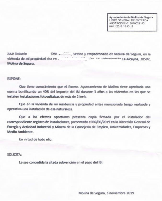 Petición bonificación IBI placas solares autoconsumo Molina de Segura