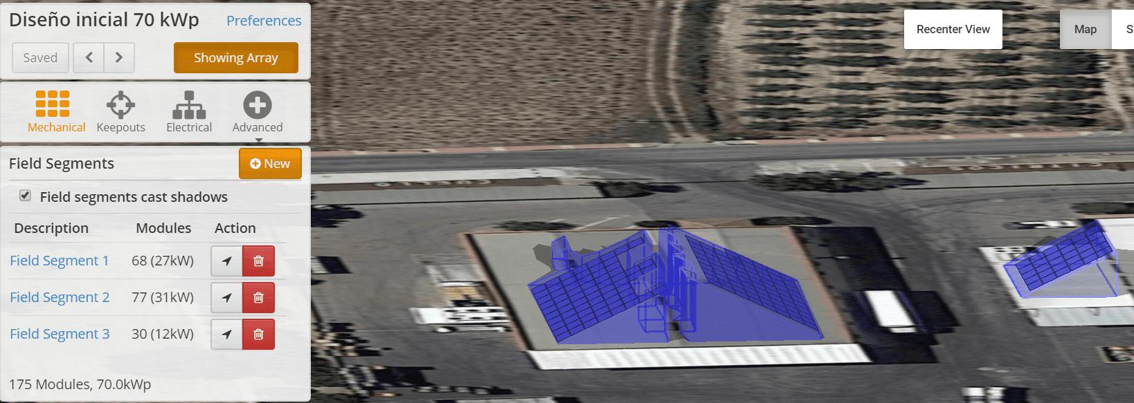 Diseño instalación solar autoconsumo. Vista en alzado de la instalación solar de autoconsumo
