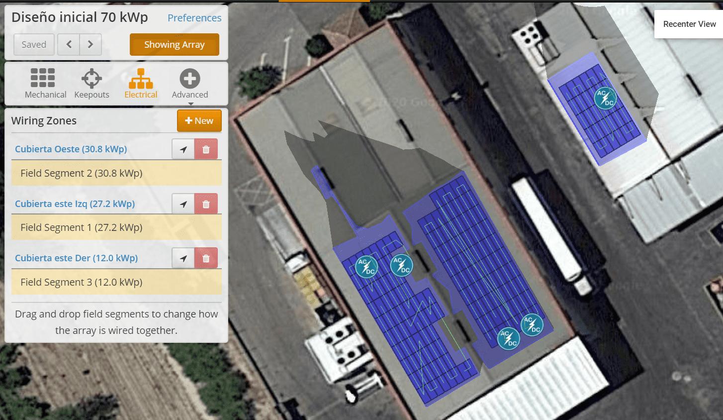 Diseño instalación solar autoconsumo. Zonas de inversores solares