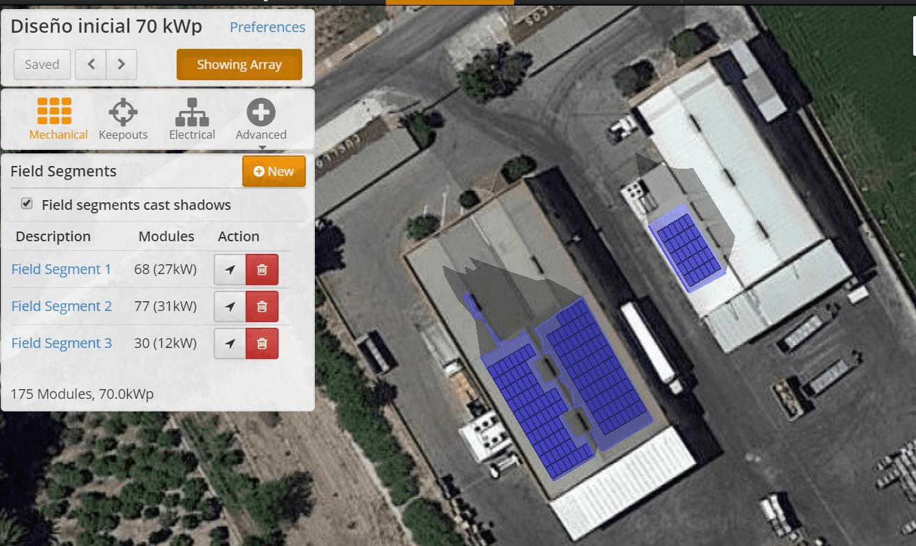 Diseño instalación solar autoconsumo. Vista en planta de la instalación