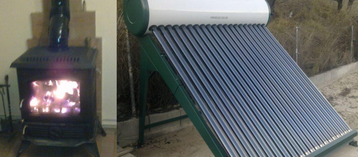 Hidro-estufa de biomasa y equipo termosifón de 200 litros de energía solar con tubos de vacío para calefacción y ACS en vivienda.